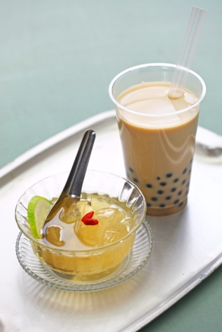 bubble tea and aiyu jelly, Taiwanese drink and dessert