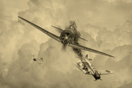 'Vintage Style' image of a World War 2 US fighter plane shooting down Japanese torpedeo bomber over Saipan. (Artists Impression)